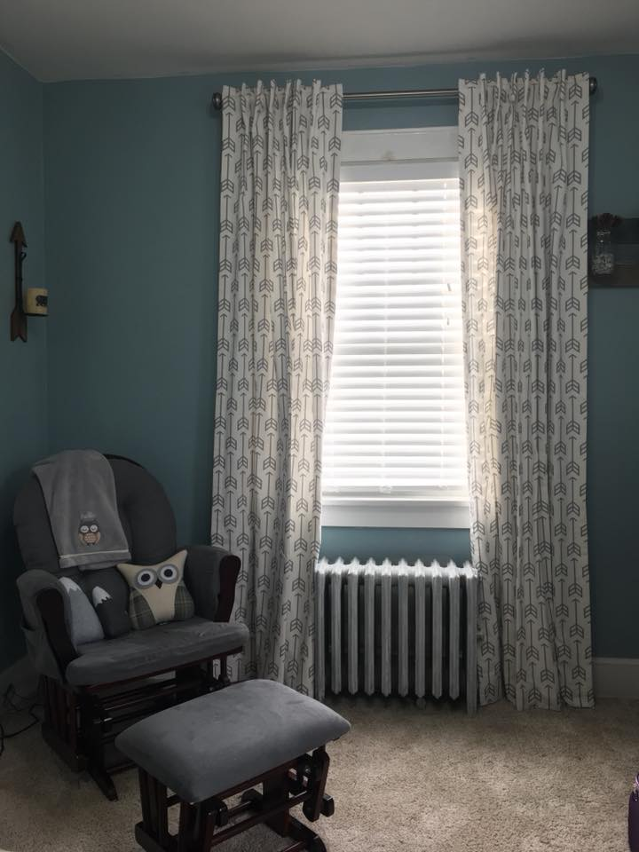 Nutley, NJ  Tab Back Style Curtains with Thermal Lining using arrow fabric by  Carousel Designs
