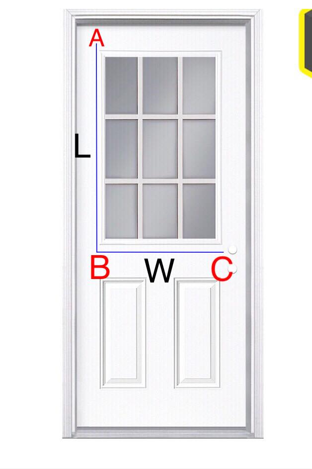 Outside mount measuring for roman shades on a door. A to B= Length and B to C= Width. Make sure to avoid the door knob. The length doesn't have to be exactly like the blue lines in the photo, as the shade can mount as high and go as low you'd like, so long as it clears the top of the door.