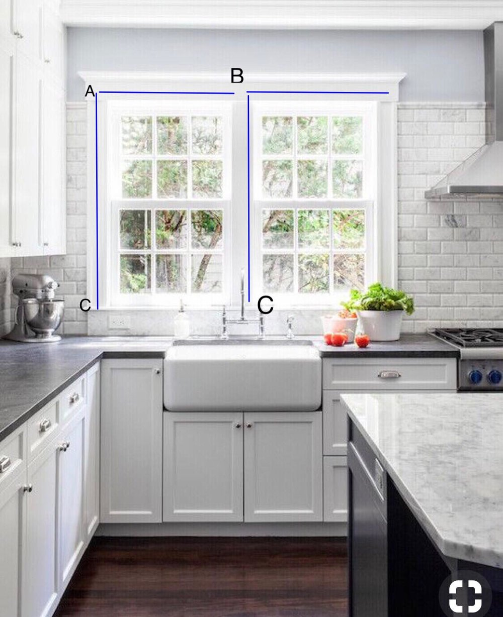 Outside mounted roman shades. Leave a little bit of space in between windows. Make sure there is equal space/trim on the left and right of the double window. Measure A to B for width of both shades. Measure A to C for length of both shades. Mount shade on trim above glass. This can be any place on trim that you'd like. Measure down to the sill.