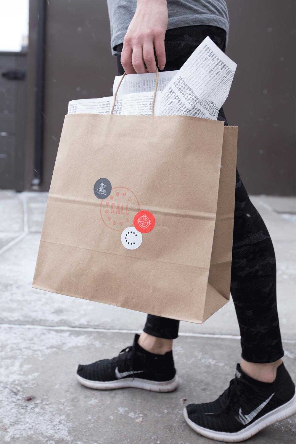 Call Denver Restaurant Branding_To Go Bag Design