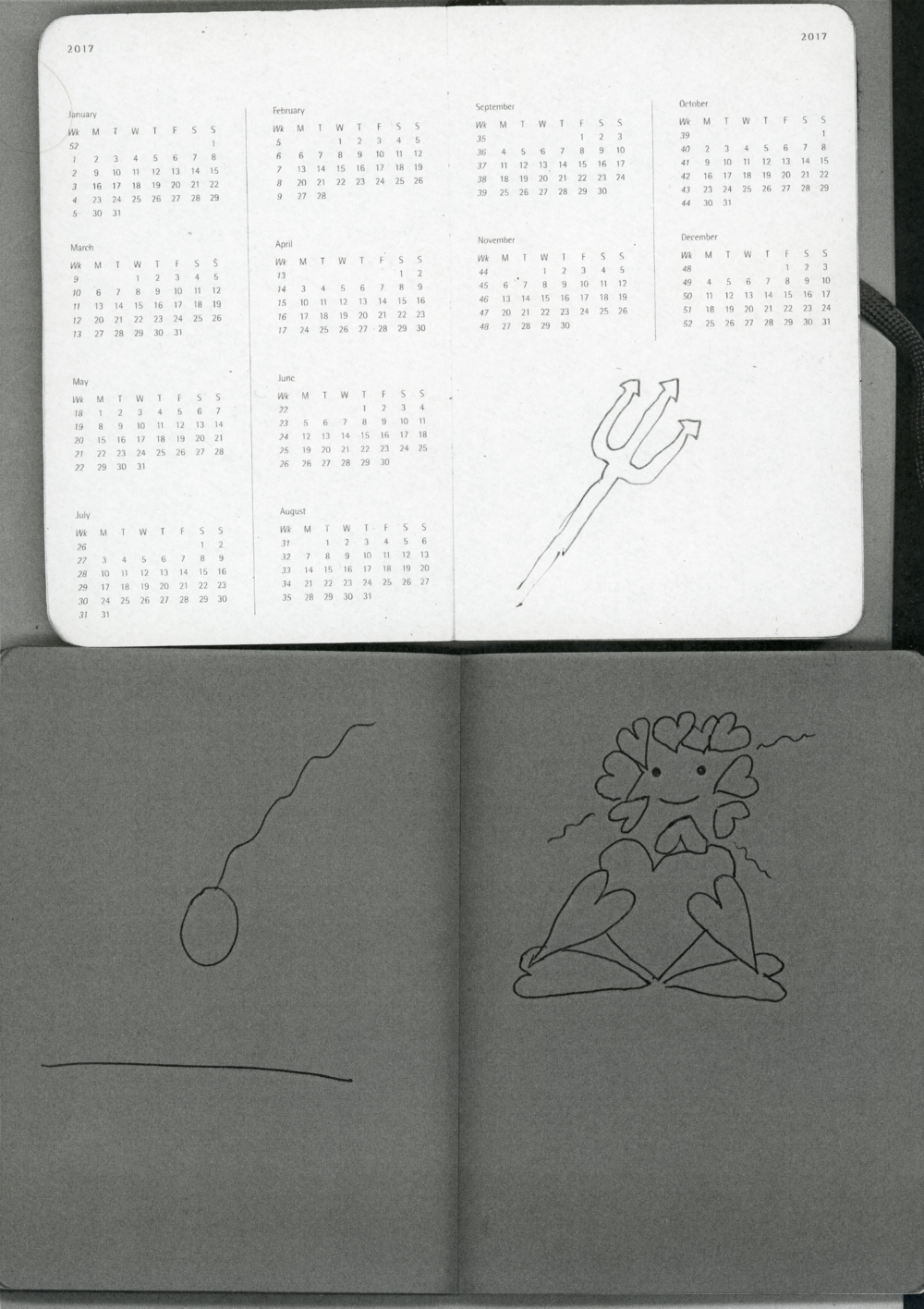 21.0 x 29.7 cm black and white print  2018 Agenda & Coloured Booklet