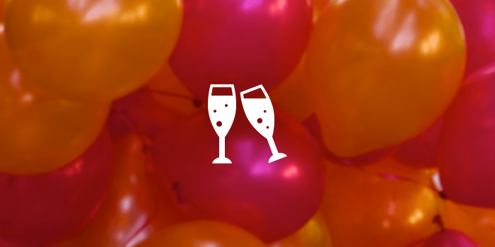 Champagne flute icons on a balloon background.