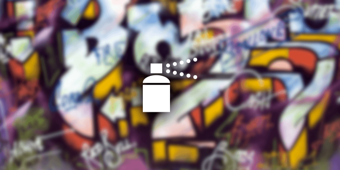 A simple spray can icon on a graffiti background.