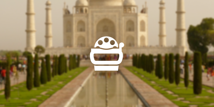 view-master icon against taj mahal background