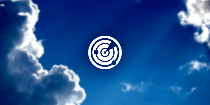 Radar Icon on a sky and cloud background.