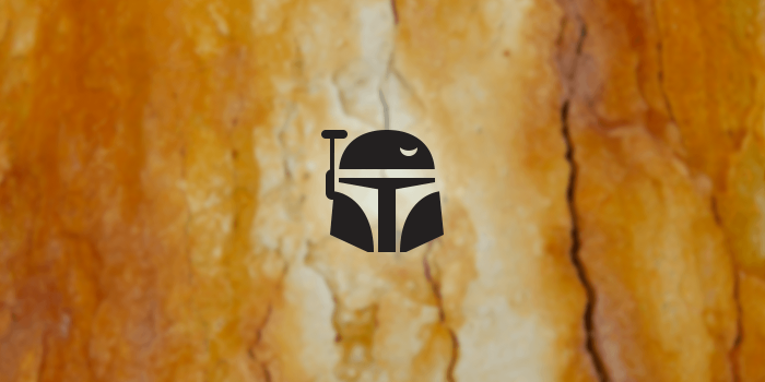boba fett icon on a rusty background