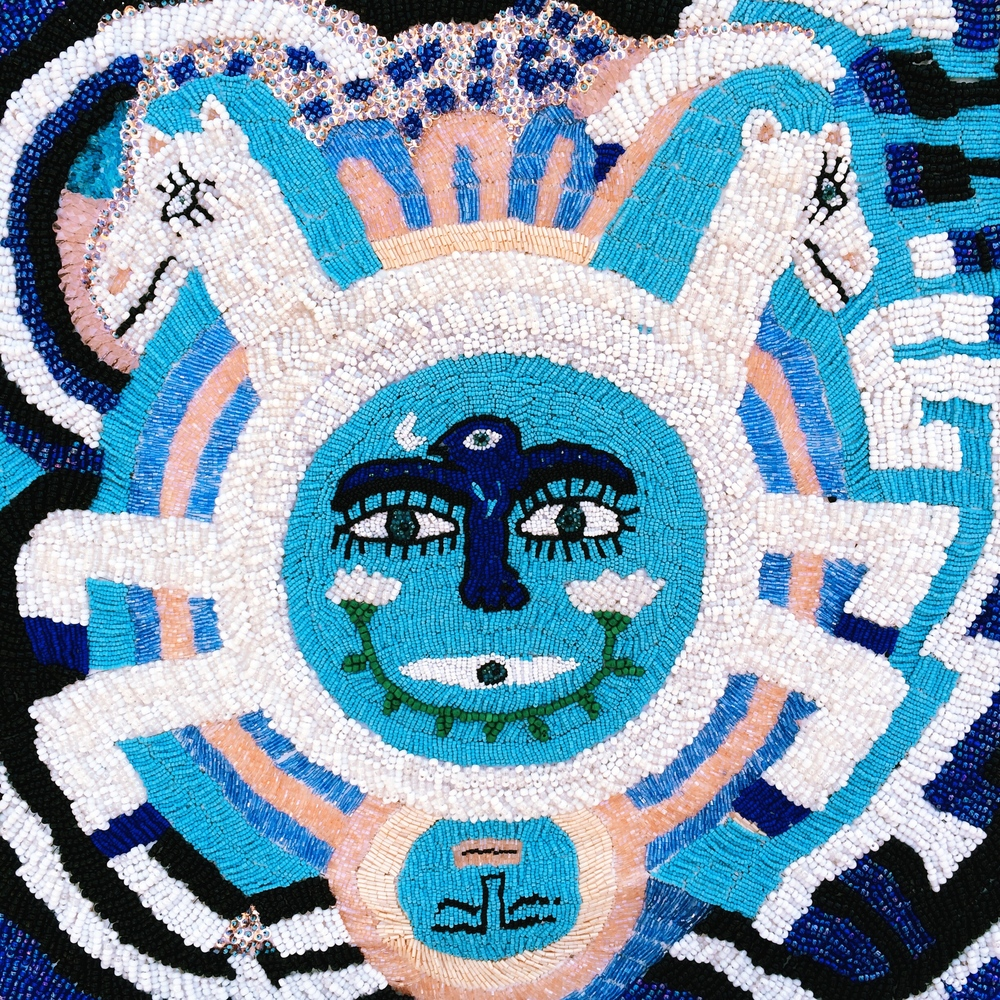 "Year of the Windhorse. 2014. Beaded tapestry. 21""x21""."