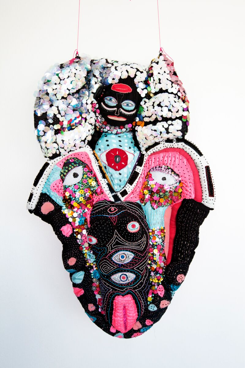 The Offering. Ongoing sculpture 2013-present. Beads, fabric, stuffing.