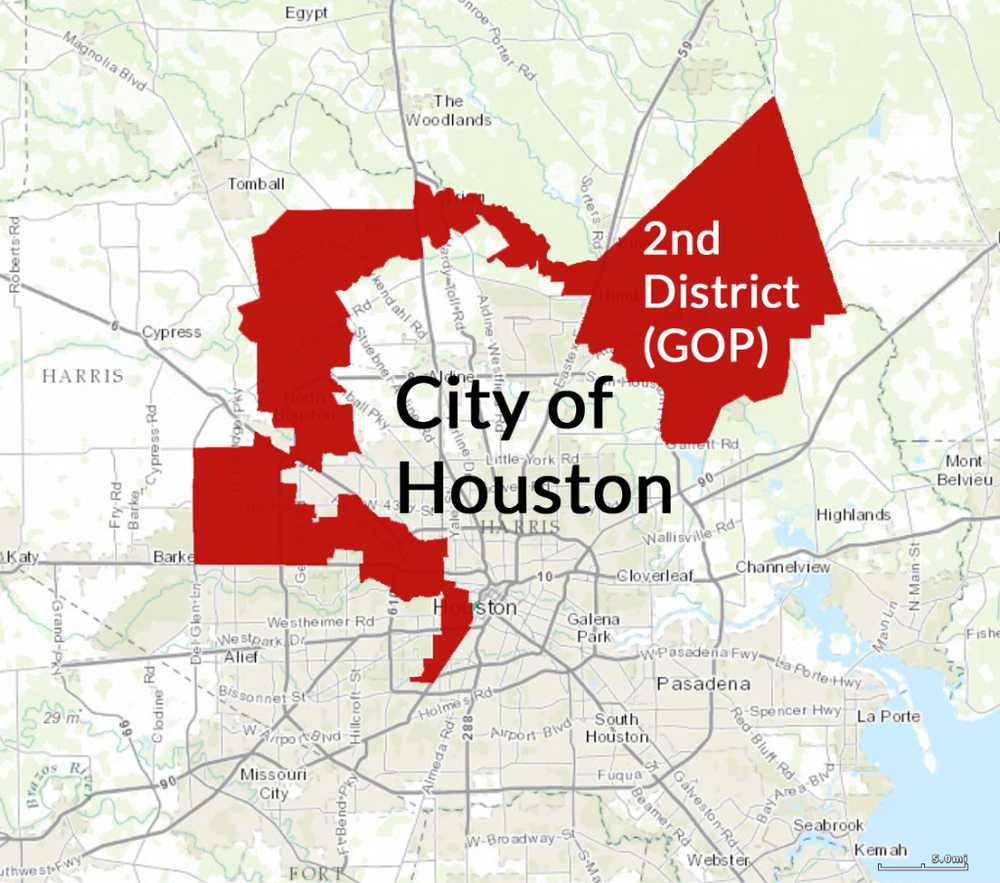 GOP 2nd Congressional District Gerrymander Map (Houston, TX)