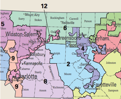 Central North Carolina's Gerrymandered Districts 2012