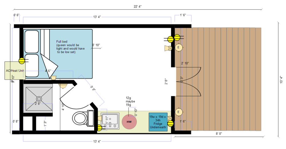 Mega Pod With Shower & Kitchenette Area Example Layout