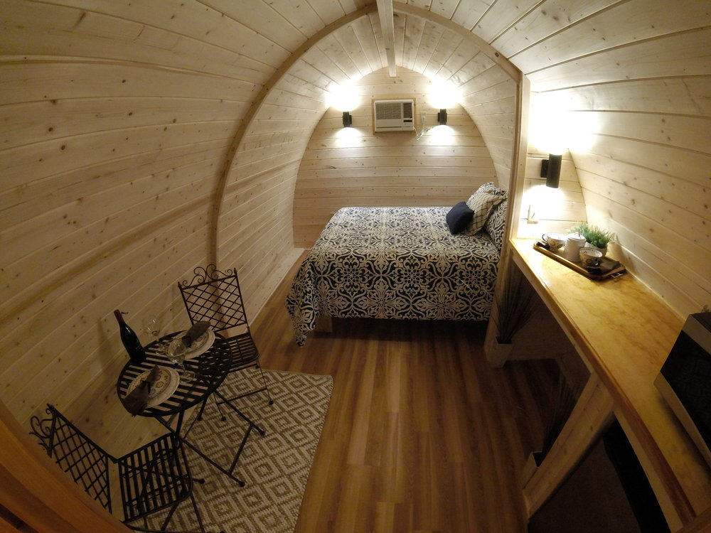 Mega Pod with Queen Bed and Kitchenette Area.