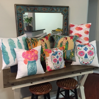 Just a few of the pillows I'l have- all handmade and the fabrics are based on my original watercolor paintings!