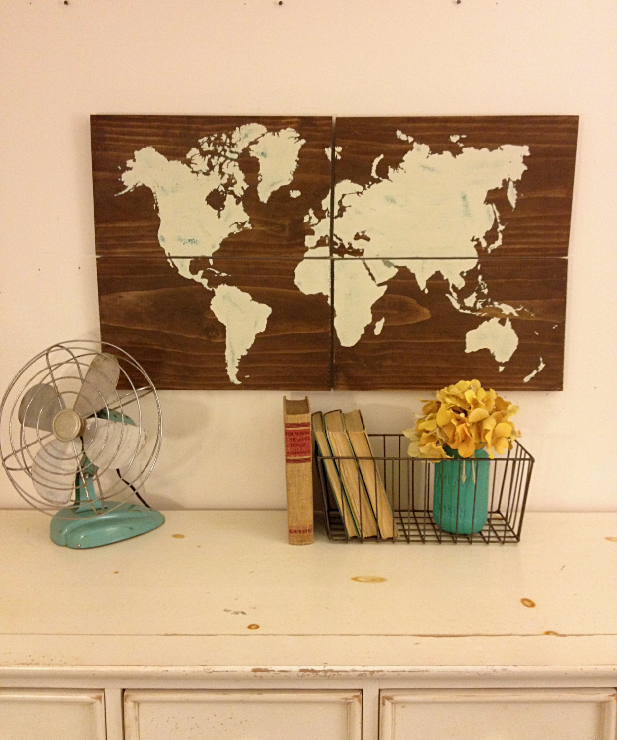 Large Wooden World Map, White, Rustic Home Decor, World Map, Map Art ...