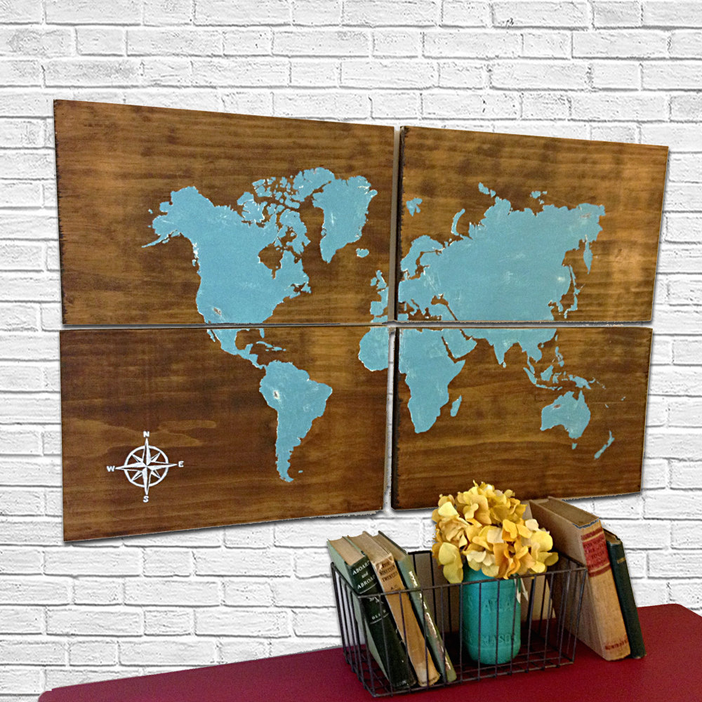 Large wooden world map aqua rustic world map map art home decor large wooden world map aqua rustic world map map art home decor rustic wooden sign hand painted large world map gumiabroncs Images