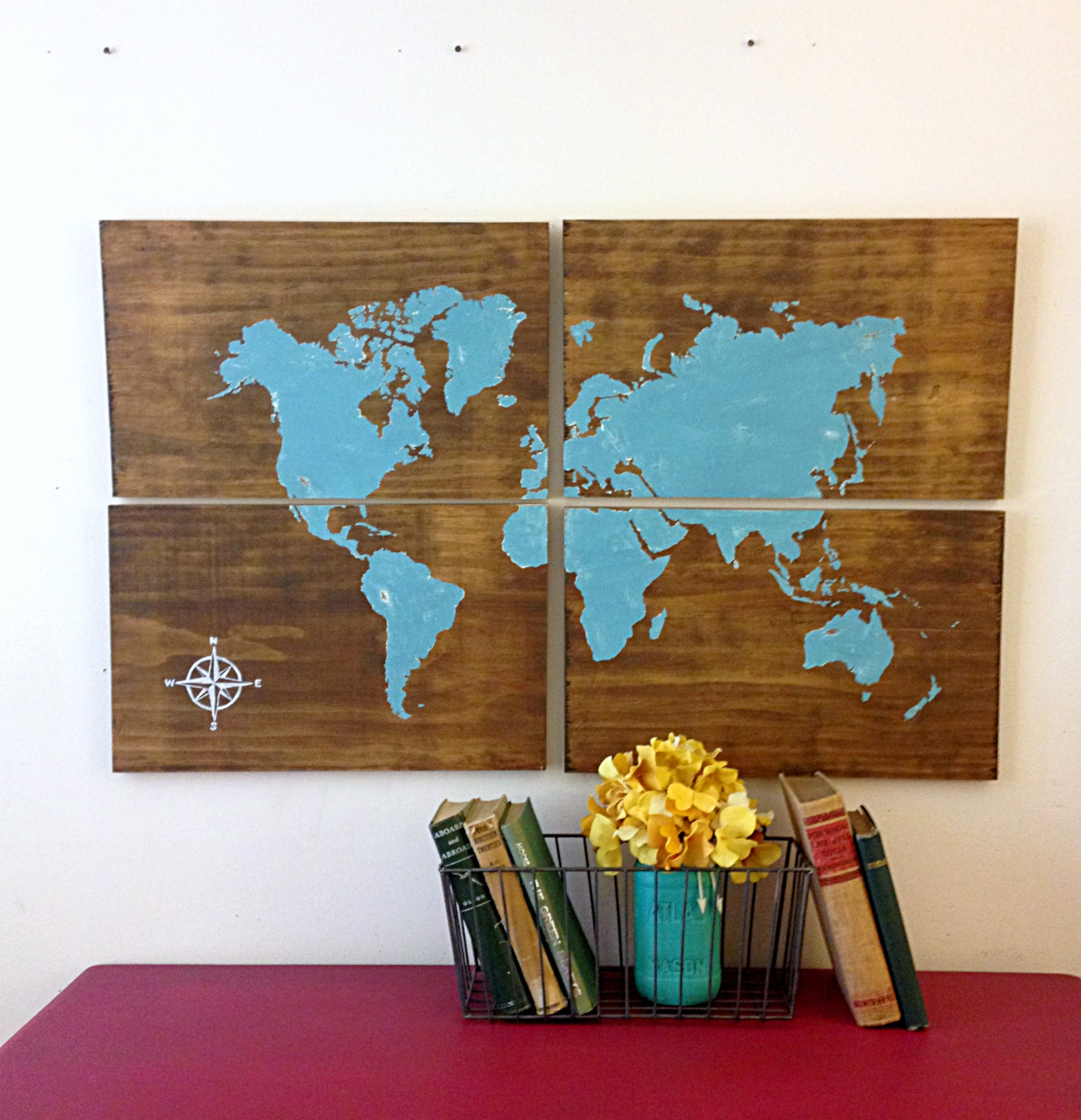 Large Wooden World Map Aqua Rustic World Map Map Art Home Decor Rustic Wooden Sign Hand Painted Large World Map