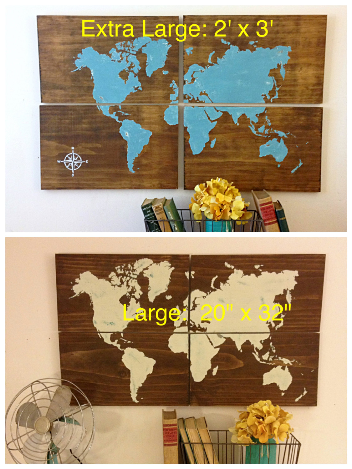 Large wooden world map aqua rustic world map map art home decor large wooden world map aqua rustic world map map art home decor rustic wooden sign hand painted large world map gumiabroncs Gallery