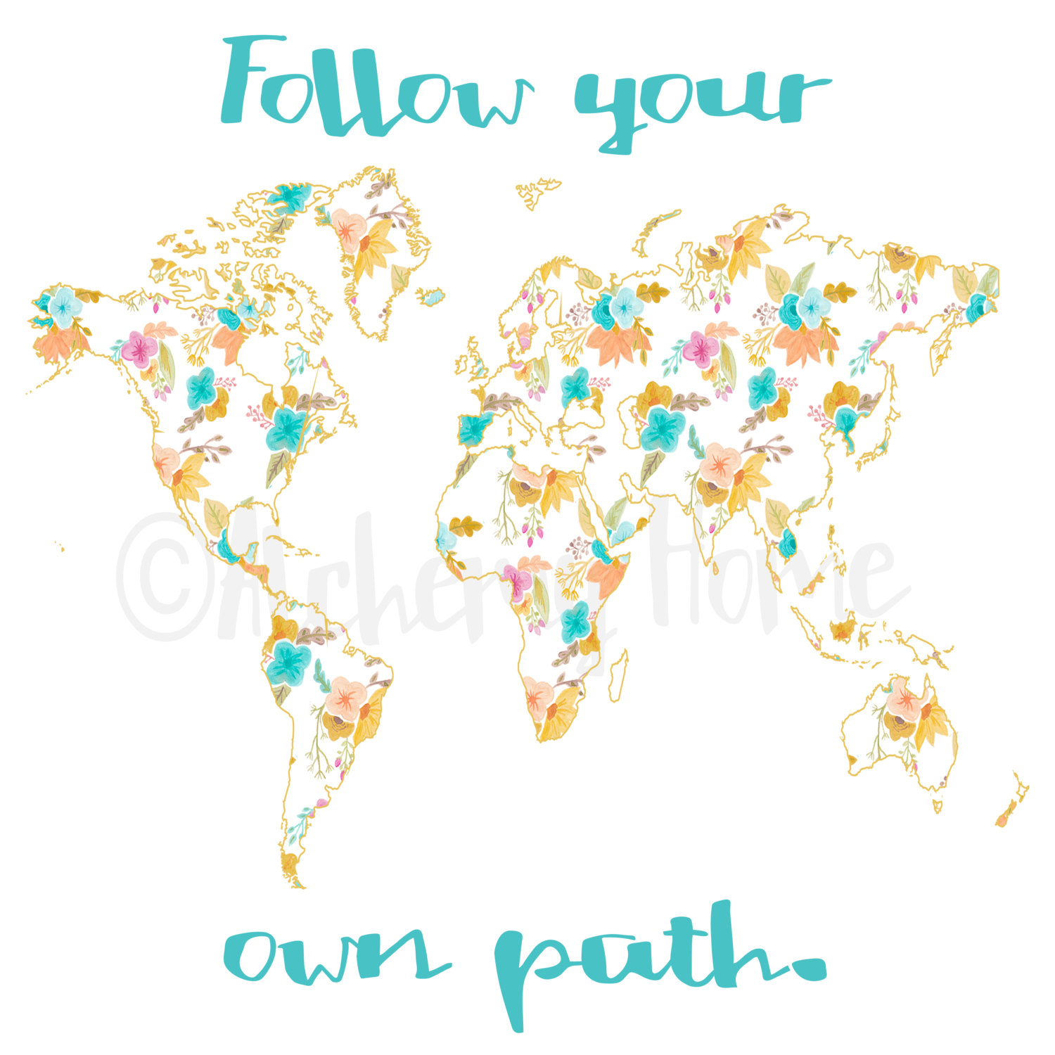 Follow your own path inspirational quotes travel typography follow your own path inspirational quotes travel typography quote prints world map printable printable quote watercolor home decor gumiabroncs Image collections