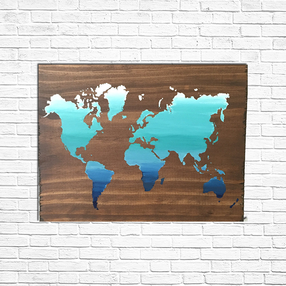 sign hand home format wood large rustic imported decor world products painted art map wooden
