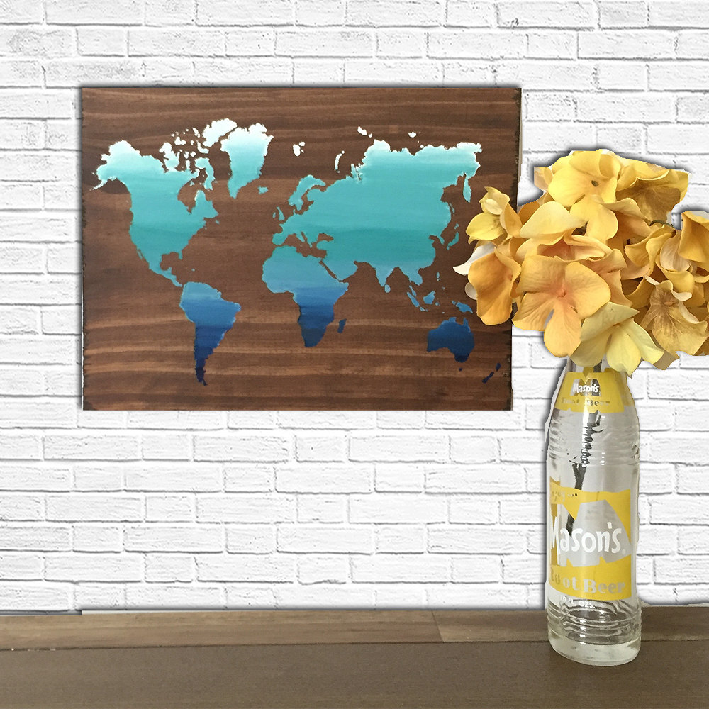 World map art abstract wooden map reclaimed wood world map map world map art abstract wooden map reclaimed wood world map map decor gift ideas rustic wooden sign painted world map gumiabroncs Images