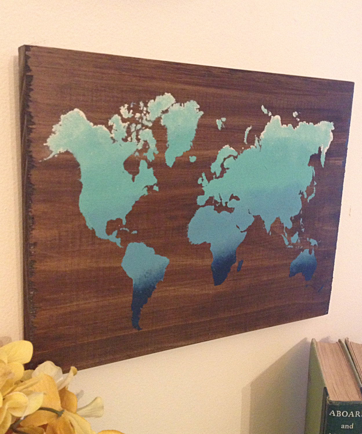 World map art abstract wooden map reclaimed wood world map map world map art abstract wooden map reclaimed wood world map map decor gift ideas rustic wooden sign painted world map gumiabroncs