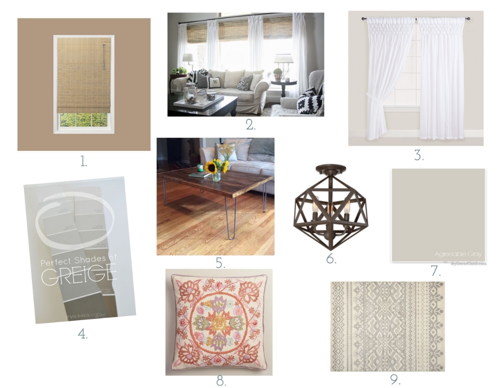 1.  Home Depot Driftwood Bamboo Blinds  2. Inspiration Picture via Pinterest 3.  World Market Smocked White curtains  4. Greige Paint choices via Pinterest 5. Inspiration picture via Pinterest 6. Lowes  Semi-Flush light fixture  7. Sherwin Williams Agreeable Gray 8. World Market  Throw Pillow  9.  Safavieh Area Rug  via Amazon