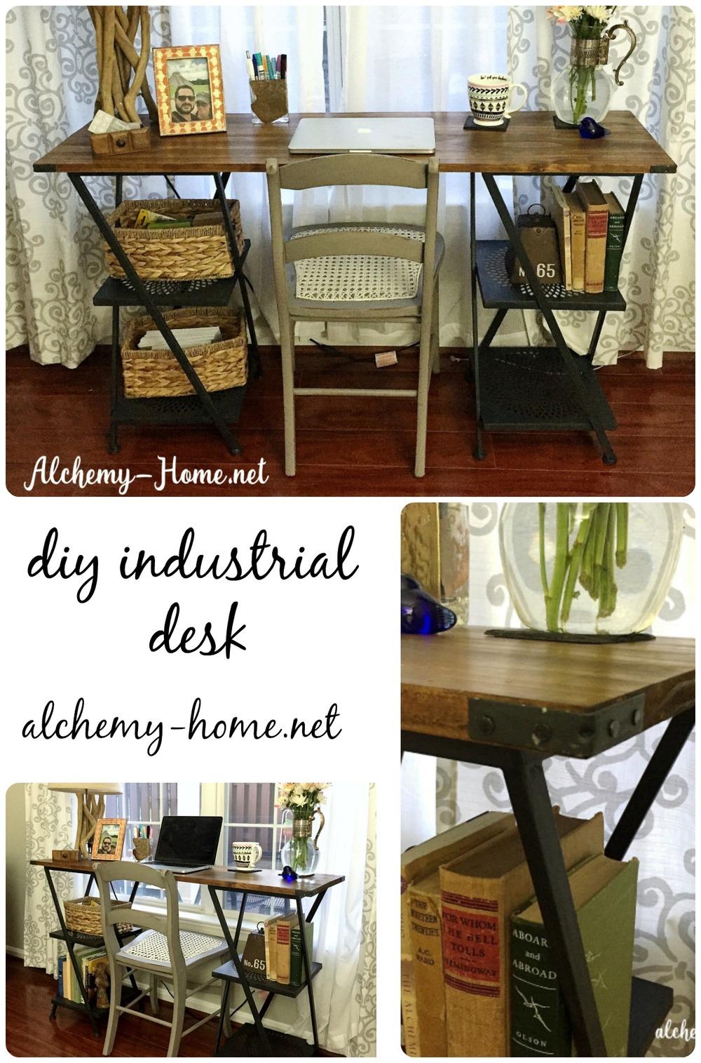 Easy Diy Industrial Desk Tutorial No Power Tools Needed Alchemy Home