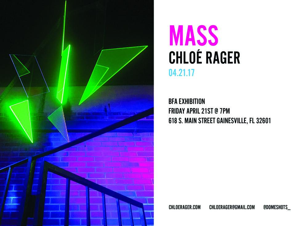 MASS Exhibition press    Rager, Chloé2017, 'MASS', BFA thesis, The University of Florida, <http://ufdc.ufl.edu/AA00057978/00001>.