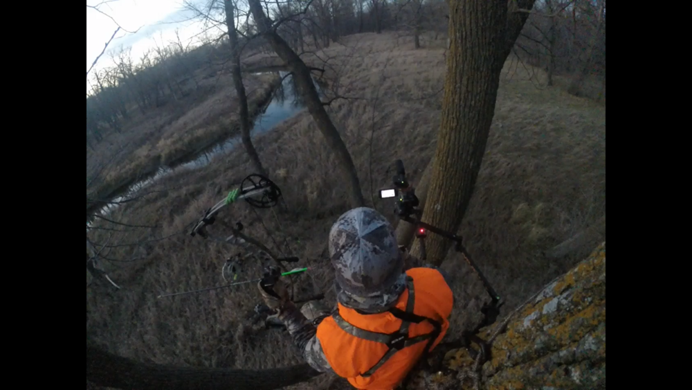 This second angle captured by a GoPro gives a different look while I film an approaching buck.