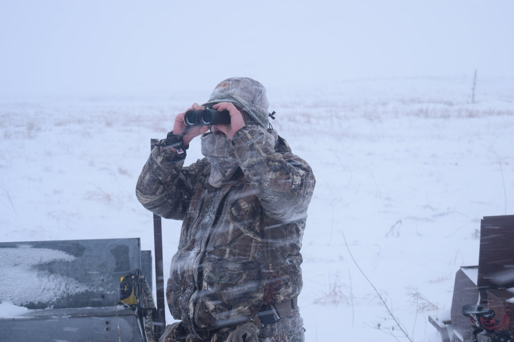 My buddy Tyler glasses deer during glacial temperatures on a late season hunt in North Dakota.
