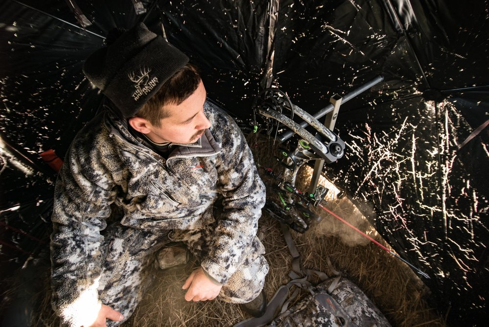 Ground blinds are a great way to cut the wind and help stay warm when temps are frigid.  Photo provided by Dylan Lenz.