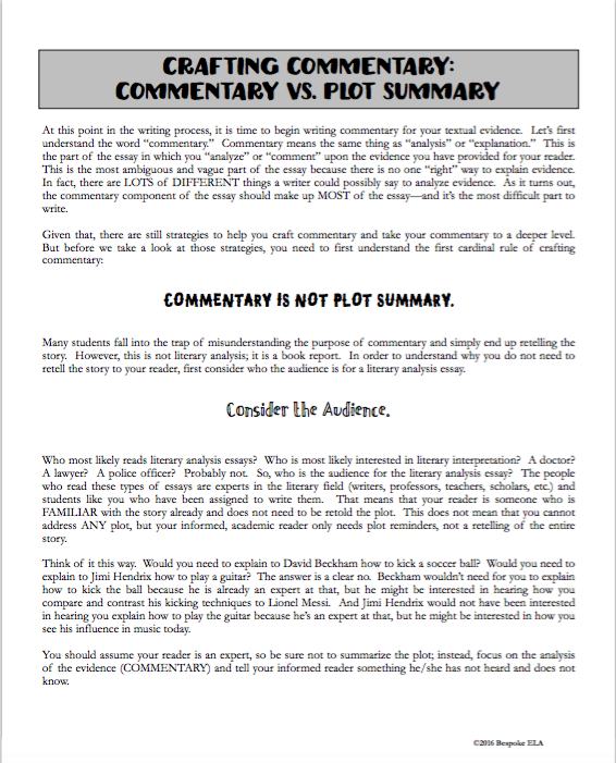Teaching Students How To Write Commentary For The Literary Analysis