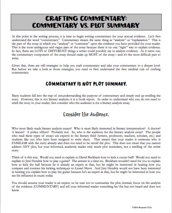 Plot summary essay