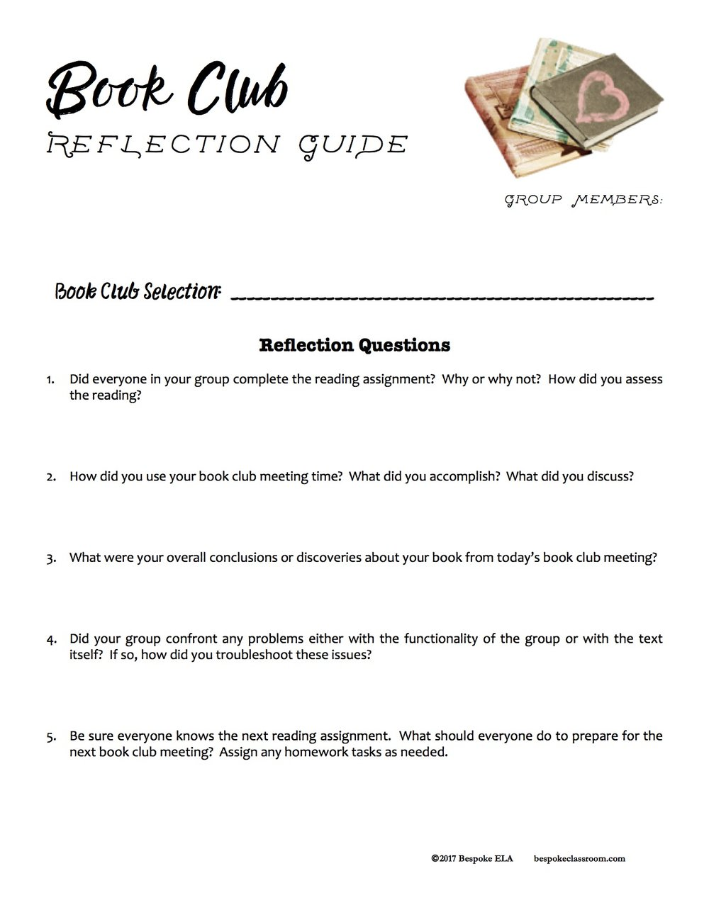 "I have included a copy of the ""Book Club Reflection Guide"" here. Click on  the image below to download this FREEBIE from the Bespoke ELA Teachers Pay  ..."