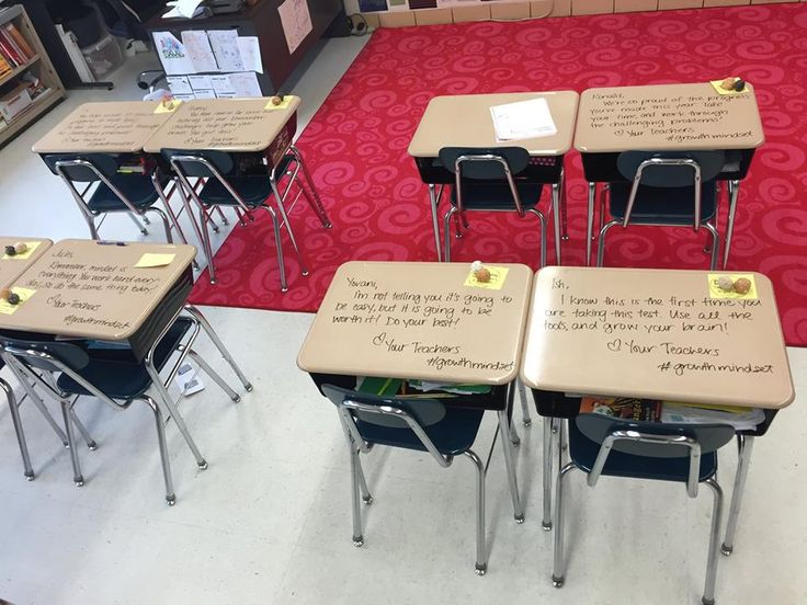 Fifth grade New Jersey teacher Chandni Langford encourages her students with desk messages before big tests!