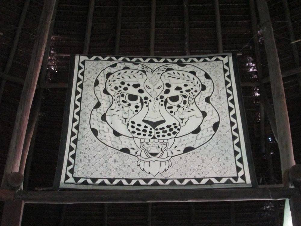The powerful Jaguar-Anaconda central tapestry that stared down upon us in every ceremony.