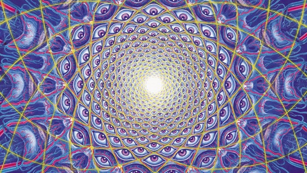 These images merely represent a static glimpse of the rapidly ever-changing fractal nature of the experience.  Visionary Artwork: Alex Grey