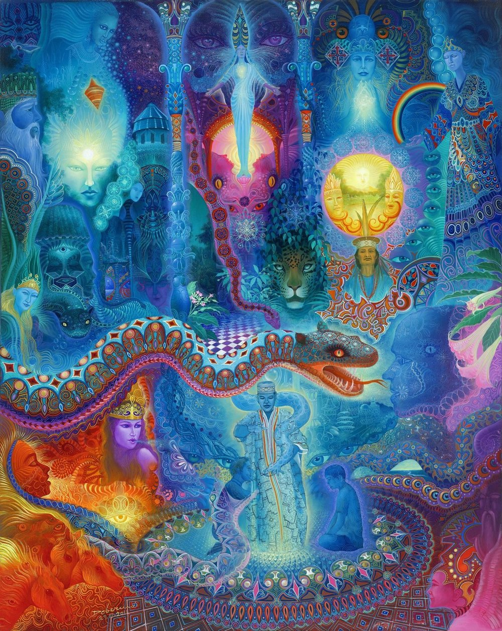 An artists representation of an Ayahuasca vision. I've experienced similar imagery in my own altered states. Visionary Artwork: Andy Debernardi Banner Artwork: Krystleyez