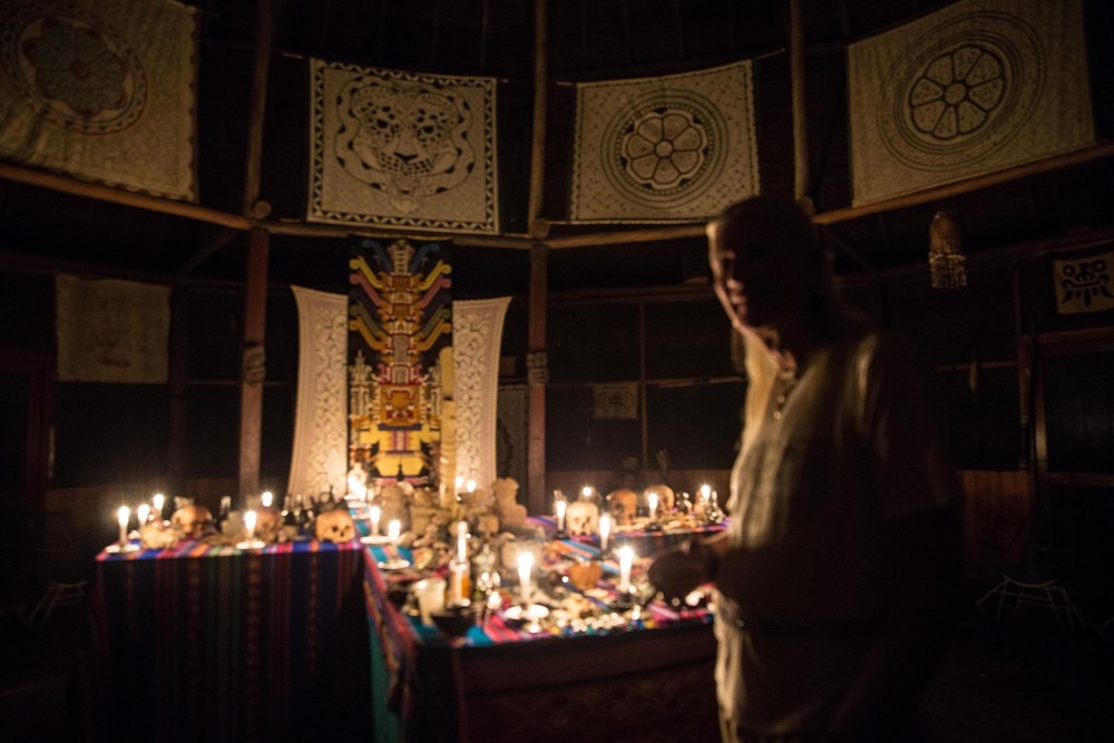 Howard standing at the ceremonial Huachuma alter. Photo: Choque Chinchay