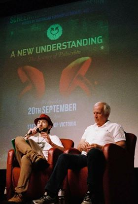 Daniel Witham and his father, speaking at the 920 Mushroom Conference last year. His dad tried them at age 69 mid last year, and experienced profound healing.