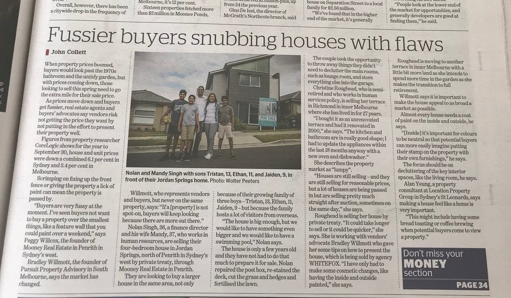 Pursuit property advisory's bradley willmott quoted in the age and the sydney morning herald