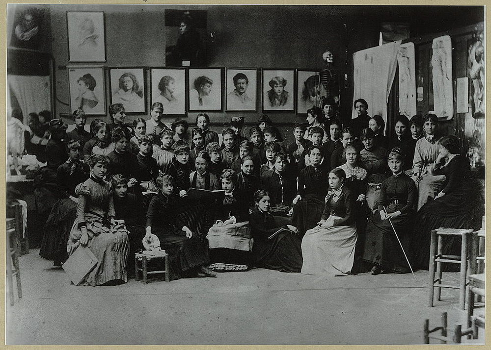 "Photo credit: Frances Benjamin Johnston, ""Academy Julian, Paris, group of art students"" ca. 1885"