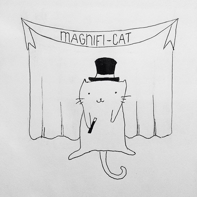 Magnifi-cat 🎩 some fun drawing for this raining Wednesday afternoon #magnifi #cat #kittycat #pendrawing #drawingoftheday #design #art #meow #whynot #itswednesday #instadraw #instaart #magic #magician