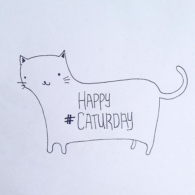 Happy #Caturday everyone #cat #saturday #drawing #pen #pendrawing #type #design #graphicdesign #kitty #meow #happycat #hashtagginguntilthecatscomehome