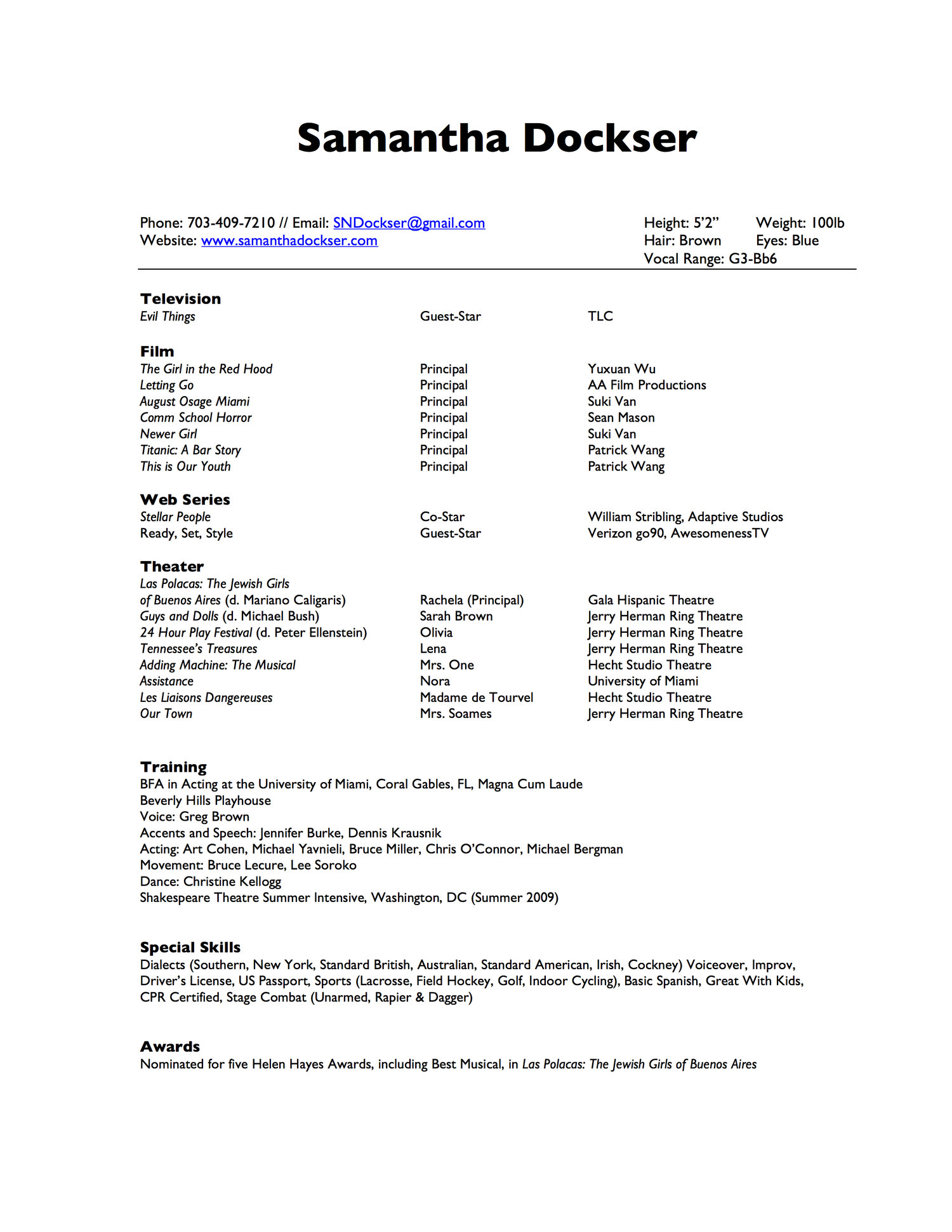 theatrical resume samantha dockser