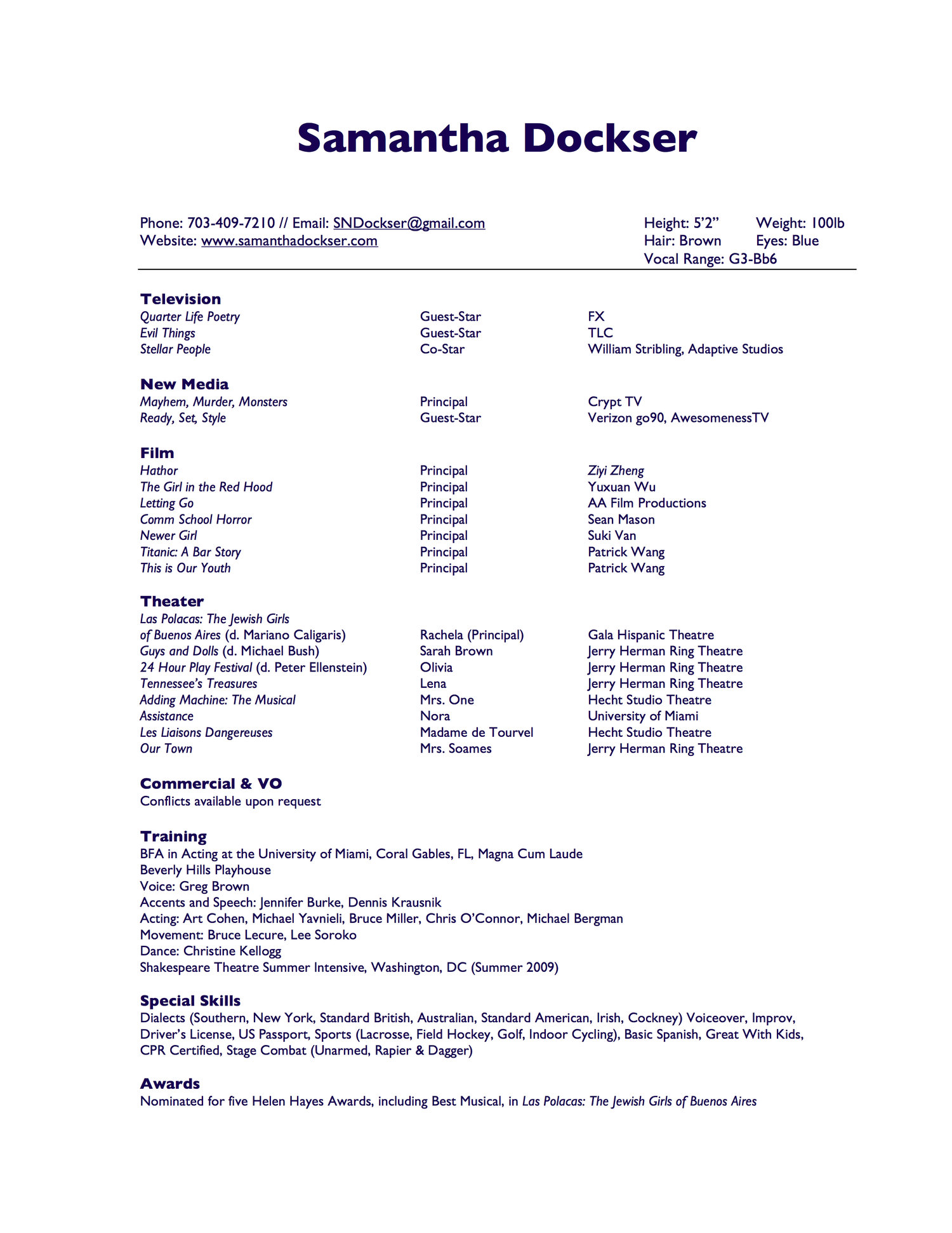 resume samantha dockser