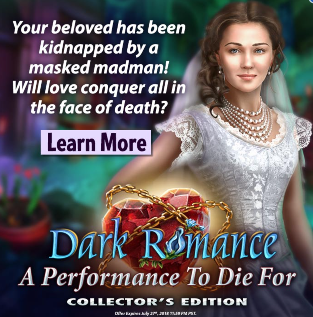 Dark Romance: A Performance to Die For   - So many nerdy dreams coming true! excited to announce that I have voiced the role of Christine Daae in Dark Romance: A Performance to Die For, a phantom of the opera themed hidden object game, now available for download.