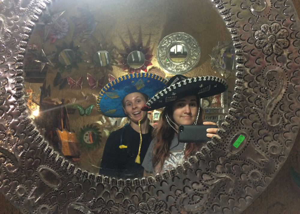 We tried on these sombreros. We didn't buy them. I wish we did.
