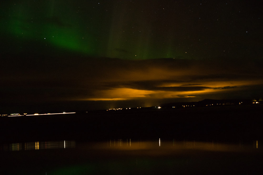 Northern Lights... with a little bit of light pollution mixed in.