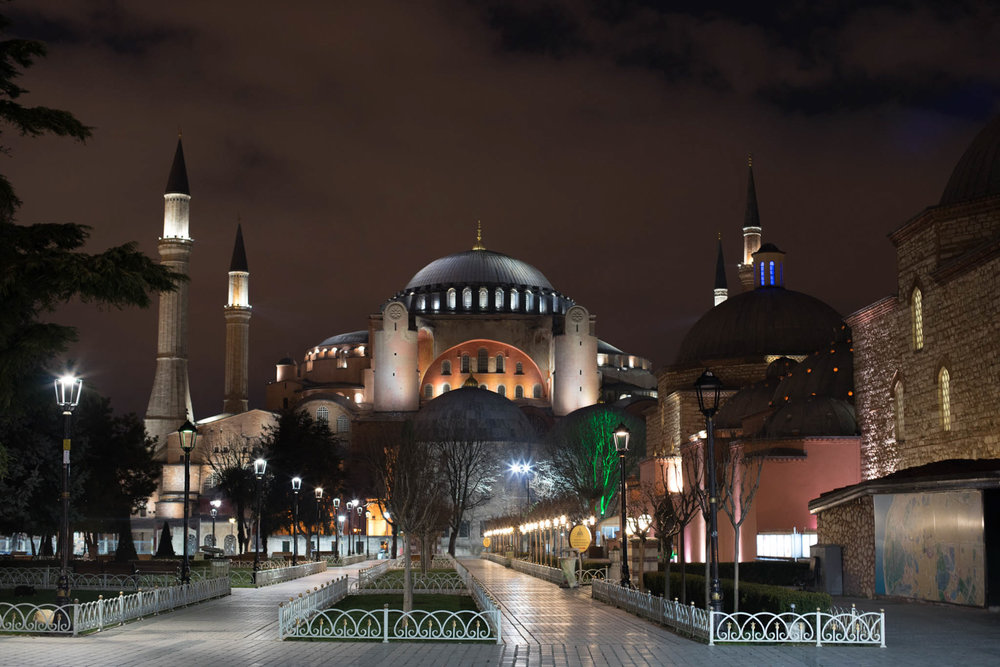 Sultanahmet mosque on a quiet winter night.